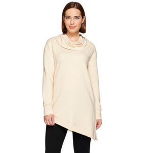 H By Halston Tops - H By Halston Cowl Neck French Terry Asymmetric
